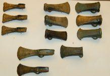 Heads of bronze axes.