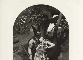 Wotan takes leave of Brunhild (1892) by Konrad Dielitz.