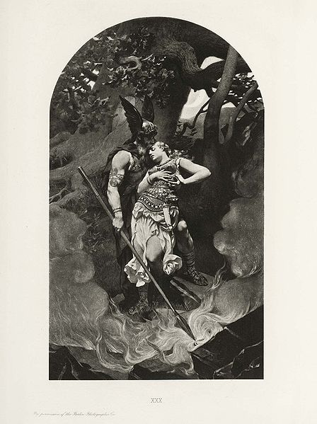 Wotan takes leave of Brunhild (1892) by Konrad Dielitz.