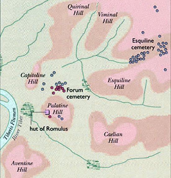 Map showing 7 hills of Rome