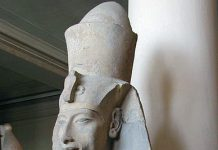 Akenaton colossal statue from Temple in Karnak. Collection of the Museum in Cairo.