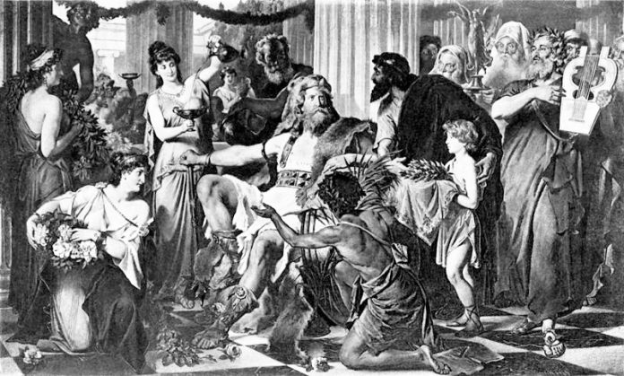 Illustration showing Alaric in Athens 397 AD by Ludwig Thiersch from the book