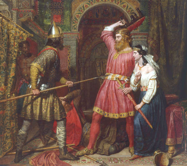 Paint represent assassination of Alboin, King of the Lombards by artist Charles Landseer (1799–1879).