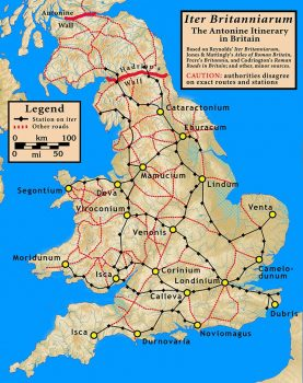 Map of Roman Britannia with possible trade routes.