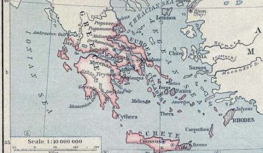 Map of the Ancient Crete and Greece around 1450 BC by William Sheperd