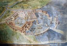 Map of ancient Ostia from Vatican Museum gallery. Photo by [Ken Trethewey, 2003]