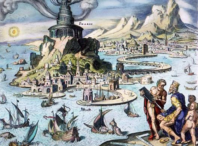 Illustration of Ancient Alexandria by painter Maarten van Heemskerck (16 century)