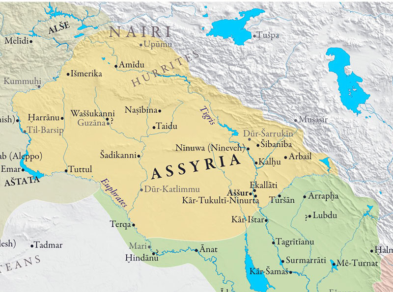Assyria map arround 1000BC
