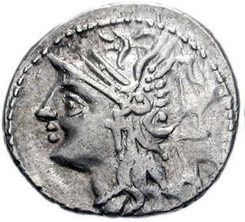Obvers coin of  Lucius Appuleius Saturninus