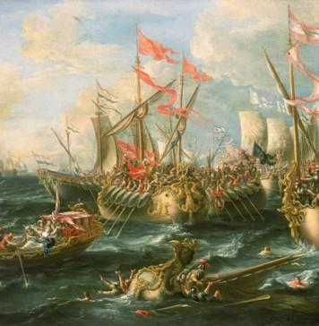 Battle of Actium, interpretation by painter Lorenzo A. Castro (XVII century)