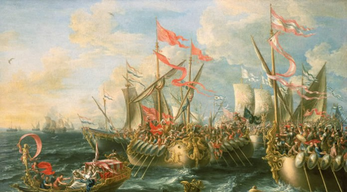 Battle of Actium, interpretation by painter Lorenzo A. Castro (XVII century)