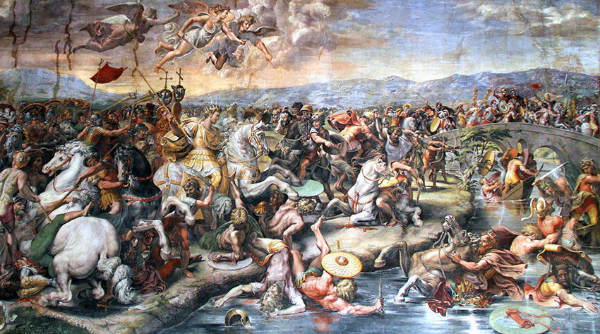 The Battle of the Milvian Bridge by painter Giulio Romano (XVI century). Location: Apostolic palace in Vatican