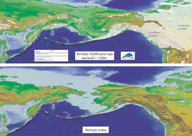 Differences between Beringia 18.000 years ago and today.