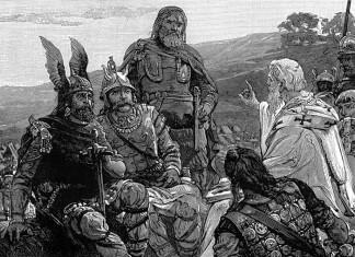 Drawing shows bishop Ulfilas talking to Goths