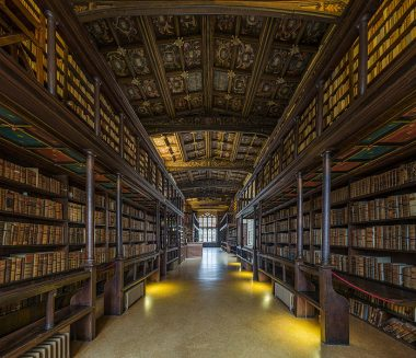 The interior of Duke Humphrey's Library, the oldest reading room of the Bodleian Library in the University of Oxford. Photo by DAVID ILIFF