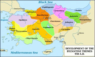 "Map of Byzantine ""themes"" around 950 AD. Themes as defence system established firstly in 7 century."