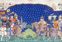 Miniature of Charlemagne and four kings in Poems and Romances (the 'Talbot Shrewsbury book'