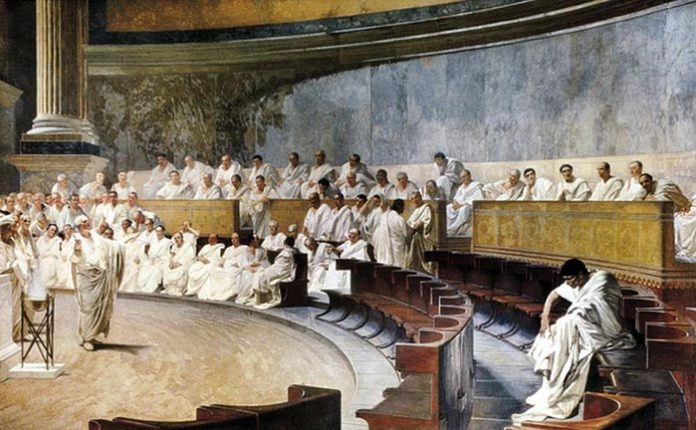 Interpretation of Cicero speech in senate against Catiline. Fresco in Madam Palace by Maccari, César