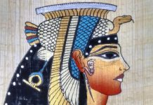 Portrait of Cleopatra, Egyptian souvenir drawn on papyrus.