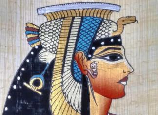Portrait of Cleopatra, Egyptian souvenir drawn on papyrus.