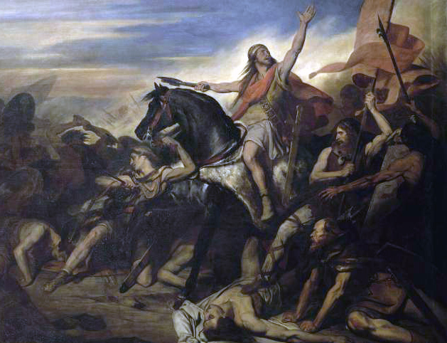 Clovis in the battle of Tolbiac by painter Ary Scheffer 19 century