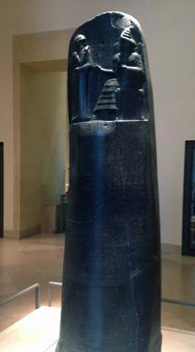 Code of Hammurabi on diorite stele at the Louvre museum.