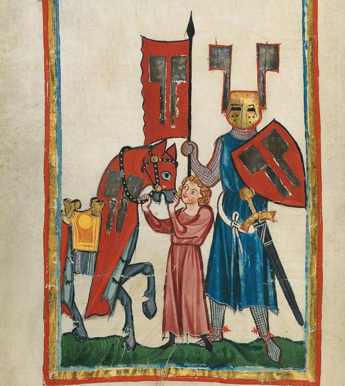 The page of Codex Manesse (from beginning of the XIV century) showing Wolfram von Eschenbach and his squire.