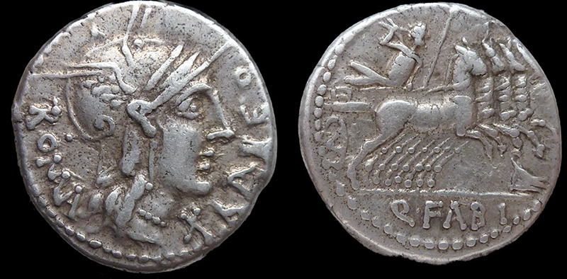 Coin (averse and reverse) with portait of Fabius Maximus