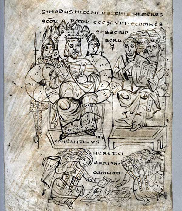 Illustration showing Constantine I during Nicea Council.