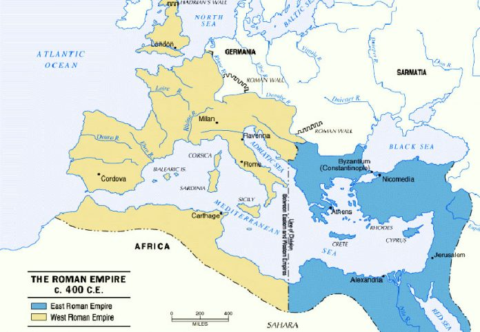 Division of Roman Empire 395AD