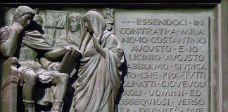 Relief made in bronze showing Constantine I and his Edict of Milan by artist Arrigo Minerbi 1948. Location: Milan Cathedral, first left door.
