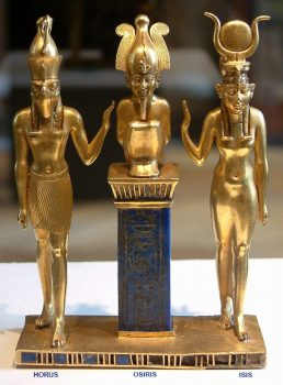 Ancient Egyptian Gods Horus (left), Osiris (middle), Isis (right).