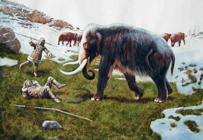 Example of hunting in Old stone age