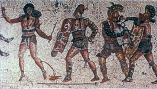 Example or Roman mosaic showing gladiators