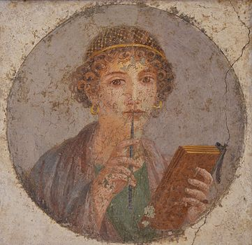 Roman Woman with Pen & Wax Tablets.