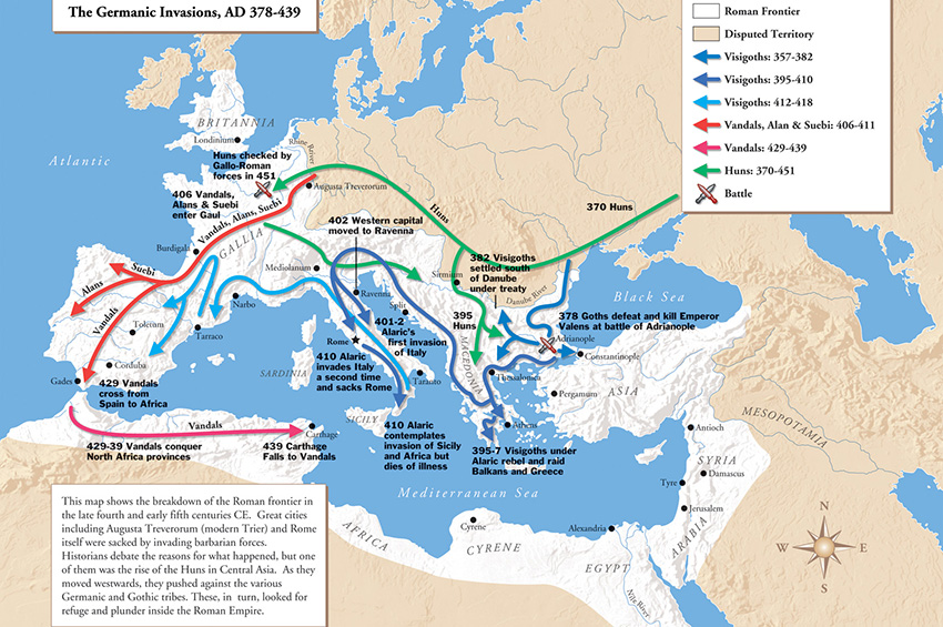 Migrations of Germanic tribes (378-439). Source of Map: http://courses.wccnet.edu/~jrush/121outline10.html