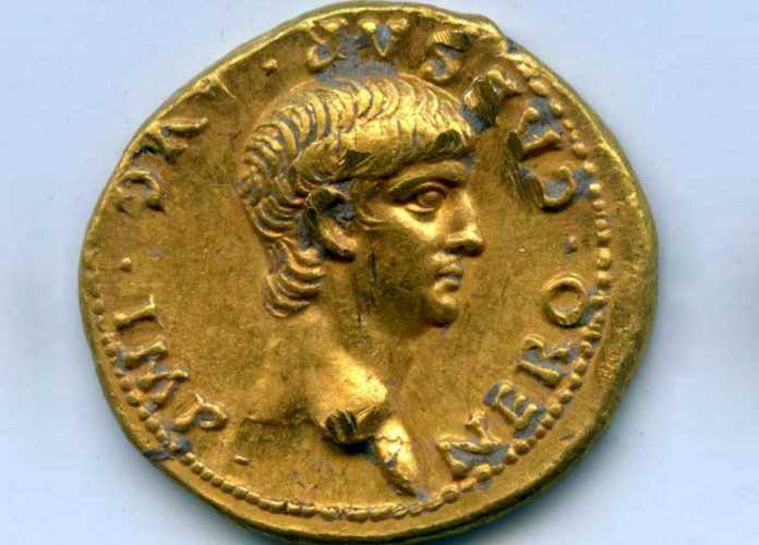 Golden coin dated 56 AD of Roman Emperor Nero. Credit: Shimon Gibson