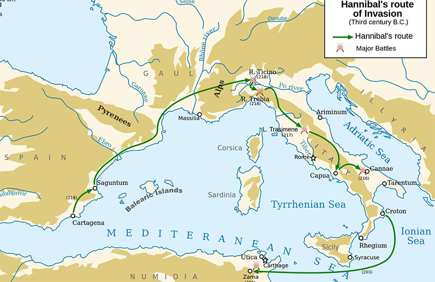 Hannibal route Second Punic War