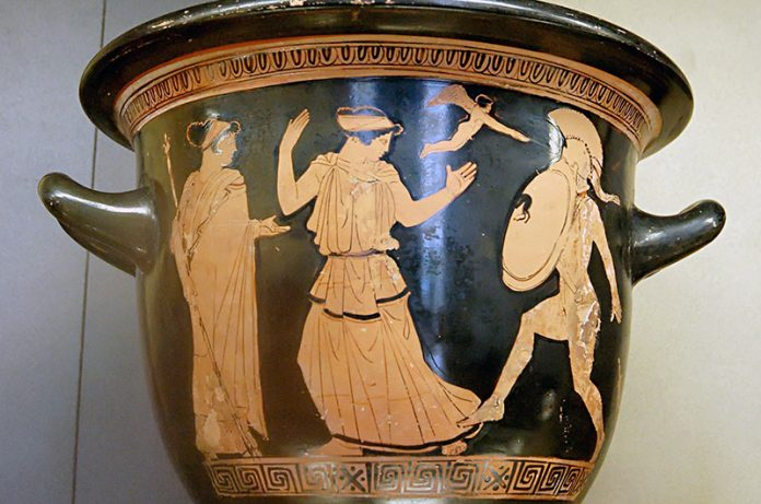 Detail showing king Menelaus intends to strike Helen. Struck by her beauty, Menelaus drops his swords. Pottery location: Louvre Museum Paris