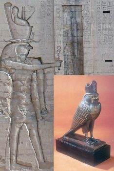 Anthropomorphic and zoomorphic shape of the god Horus