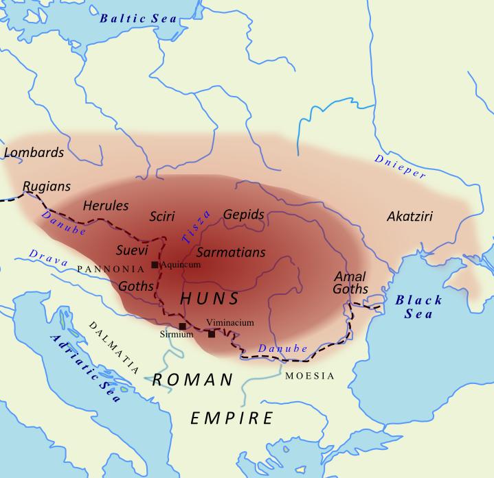 Map of Hunnic empire