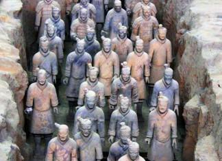 The Terracotta Warriors discovered 1974 inside Qin Shi Hunag mausoleum.