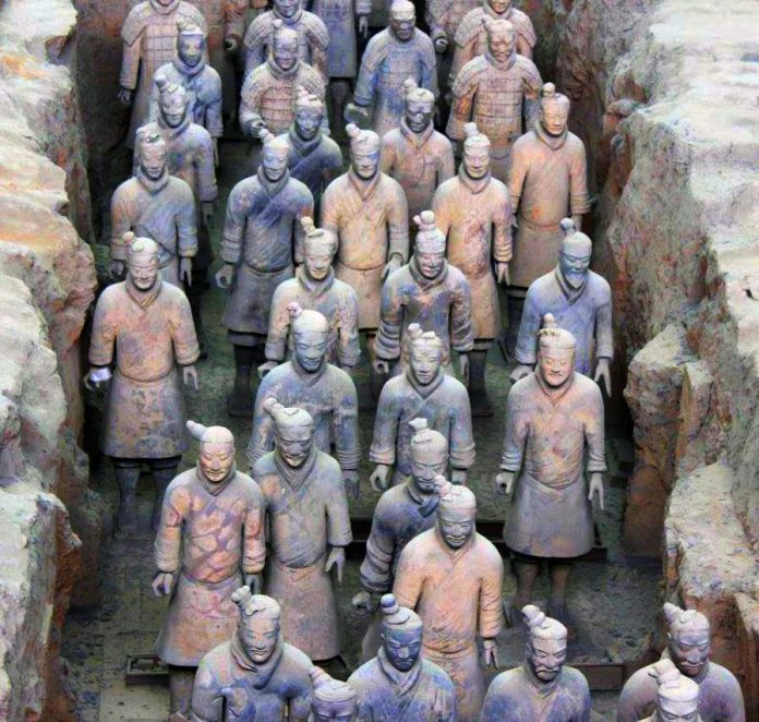 The Terracotta Warriors discovered 1974 inside Qin Shi Hunag mausoleum.