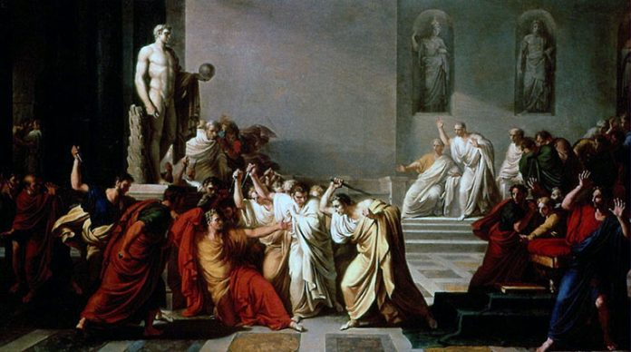 The murder of Julis Caesar - Interpretation by painter Vincenzo Camuccini around 1798 AD