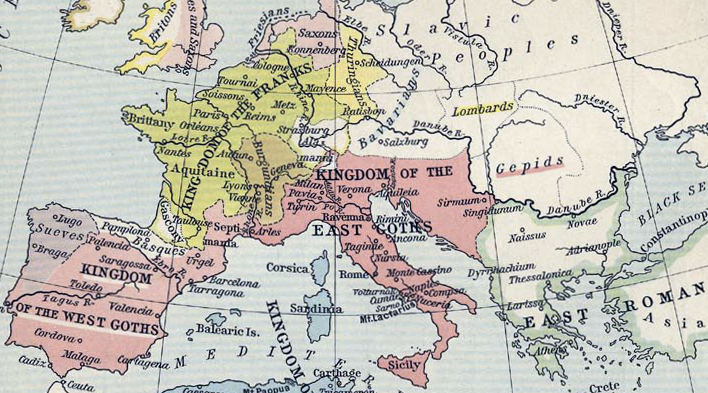 Map showing Kingdom of Ostrogoths in Italy and Visigoths in Spain