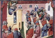 A university class in Bologna by artist Laurentius de Voltolina (14 century)