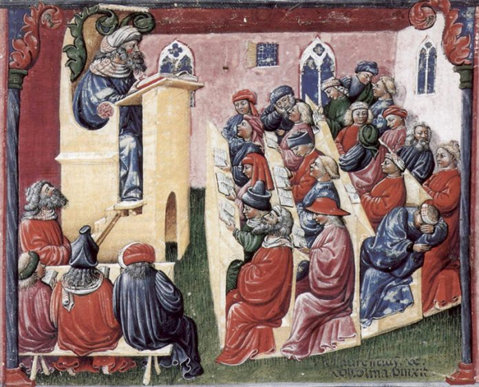 A university class in Bologna by artist Laurentius de Voltolina (14 century)