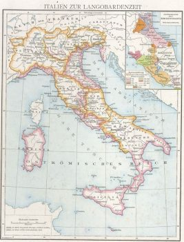 Map of Lombards in Italy by Gustav Droysen