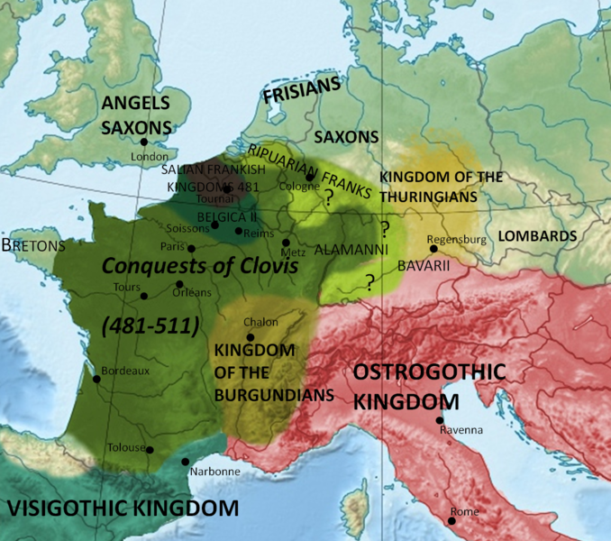 Map showing conquests of Clovis I