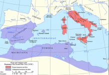 Map of Rome and Carthage before Second Punic War